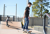 Allen Maldonado, 13, of Springdale skates, Monday, January 20, 2020 at Luther George Park in Springdale. Check out nwaonline.com/200121Daily/ for today's photo gallery.<br /> (NWA Democrat-Gazette/Charlie Kaijo)
