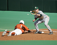 Baylor 1B Adam Hornung catches a pick off attempt against Texas on May 3rd, 2008. Photo by Andrew Woolley / Four Seam Images