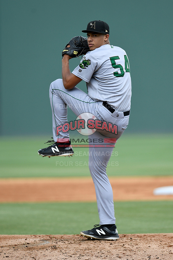 Starting pitcher Aaron Phillips (54) of the Augusta GreenJackets delivers a pitch in a game against the Greenville Drive on Thursday, May 17, 2018, at Fluor Field at the West End in Greenville, South Carolina. Augusta won, 2-1. (Tom Priddy/Four Seam Images)