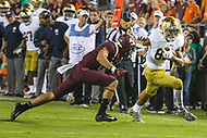 Blacksburg, VA - October 6, 2018: Notre Dame Fighting Irish wide receiver Chase Claypool (83) runs after catching a pass during the game between Notre Dame and VA Tech at  Lane Stadium in Blacksburg, VA.   (Photo by Elliott Brown/Media Images International)
