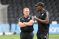 Fulham's Joint U23 Head Coaches, Mark Pembridge and Colin Omogbehin during Bromley vs Fulham, Friendly Match Football at the H2T Group Stadium on 6th July 2019