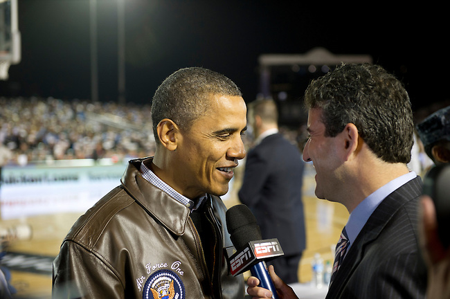 SAN DIEGO, CA - NOVEMBER 11, 2011: (L to R) Barack Obama the 44th President of the United States being interviewed by ESPN's Andy Katz prior to the start of the 2011 Quicken Loans Carrier Classic on the USS Carl Vinson between the Michigan State Spartans and the North Carolina Tar Heels..(Photo by Scott Clarke / ESPN)..- RAW FILE AVAILABLE -.- CMI000165165.jpg -