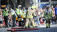 Pictured: Saturday 17 September 2016<br /> Re: Roald Dahl&rsquo;s City of the Unexpected has transformed Cardiff City Centre into a landmark celebration of Wales&rsquo; foremost storyteller, Roald Dahl, in the year which celebrates his centenary. Emergency services start the show, reacting to a mystery giant peach landing in Cardiff.