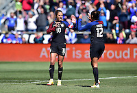 Chester, Pa. - April 10, 2016: The U.S. Women's National team go up 1-0 over Colombia in first half action from a Christen Press goal during an international friendly match at Talen Energy Stadium.
