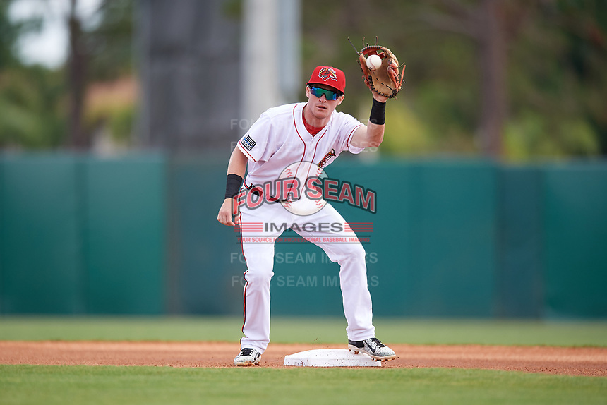 Florida Fire Frogs second baseman Marcus Mooney (11) receives a throw during a game against the Daytona Tortugas on April 8, 2018 at Osceola County Stadium in Kissimmee, Florida.  Daytona defeated Florida 2-1.  (Mike Janes/Four Seam Images)