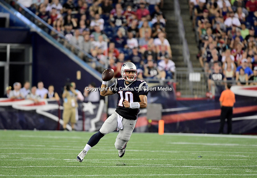 Thursday August 11, 2016: New England Patriots quarterback Jimmy Garoppolo (10) scrambles with the ball during an NFL pre-season game between the New Orleans Saints and the New England Patriots held at Gillette Stadium in Foxborough Massachusetts. The Patriots defeat the Saints 34-22 in regulation time. Eric Canha/CSM