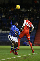 Fleetwood Town's Devante Cole (right)  and Oldham Athletic's Ousmane Fane (left)  during the Sky Bet League 1 match between Oldham Athletic and Fleetwood Town at Boundary Park, Oldham, England on 26 December 2017. Photo by Juel Miah / PRiME Media Images.