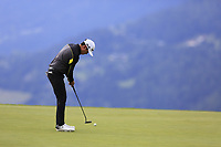 Daniel Im (USA) putts on the 7th green during Sunday's Final Round of the 2017 Omega European Masters held at Golf Club Crans-Sur-Sierre, Crans Montana, Switzerland. 10th September 2017.<br /> Picture: Eoin Clarke | Golffile<br /> <br /> <br /> All photos usage must carry mandatory copyright credit (&copy; Golffile | Eoin Clarke)