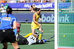 The Hague, Netherlands, June 12: Jade Close #31 of Australia makes a save against Madonna Blyth #12 of Australia during shoot-out during the field hockey semi-final match (Women) between USA and Australia on June 12, 2014 during the World Cup 2014 at Kyocera Stadium in The Hague, Netherlands. Final score after full time 2-2 (0-1). Score after shoot-out 1-3. (Photo by Dirk Markgraf / www.265-images.com) *** Local caption ***