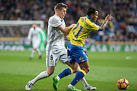Toni Kroos of Real Madrid competes for the ball with Jonathan Viera of UD Las Palmas during the match of Spanish La Liga between Real Madrid and UD Las Palmas at  Santiago Bernabeu Stadium in Madrid, Spain. March 01, 2017. (ALTERPHOTOS / Rodrigo Jimenez) /NORTEPHOTOmex