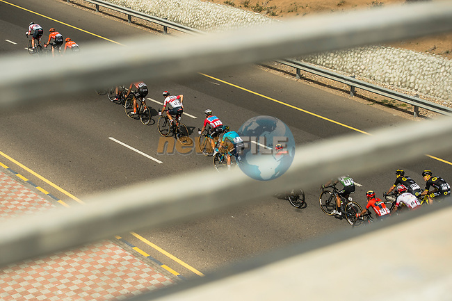 The peloton during Stage 4 of 10th Tour of Oman 2019, running 131km from Yiti (Al Sifah) to Oman Convention and Exhibition Centre, Oman. 19th February 2019.<br /> Picture: ASO/Kåre Dehlie Thorstad | Cyclefile<br /> All photos usage must carry mandatory copyright credit (© Cyclefile | ASO/Kåre Dehlie Thorstad)