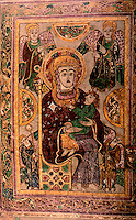 Visual Arts:  Book of Kells--The Virgin and Child. This is the oldest extant image of the Virgin Mary in a Western manuscript.  Permanent display at the Trinity College Library, Dublin.  Photo '84.