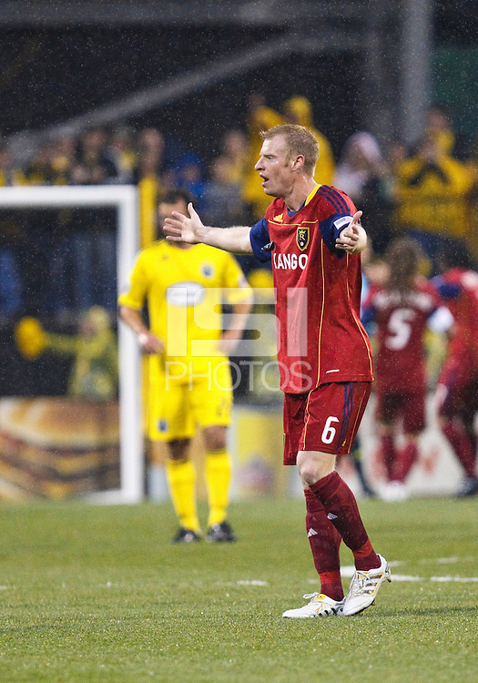 24 APRIL 2010:  Real Salt Lakes' Nat Borchers (6) during the Real Salt Lake at Columbus Crew MLS soccer game in Columbus, Ohio. Columbus Crew defeated RSL 1-0 on April 24, 2010.