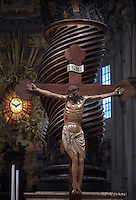 Crucifix of the wooden of the XIV. restoration realized during the year of Mercy in the sacristy at the St. Peter's Basilica at the Vatican.Pope Francis leads a mass for the Jubilee of Inmates,  at St Peter's basilica in Vatican.on November 6, 2016