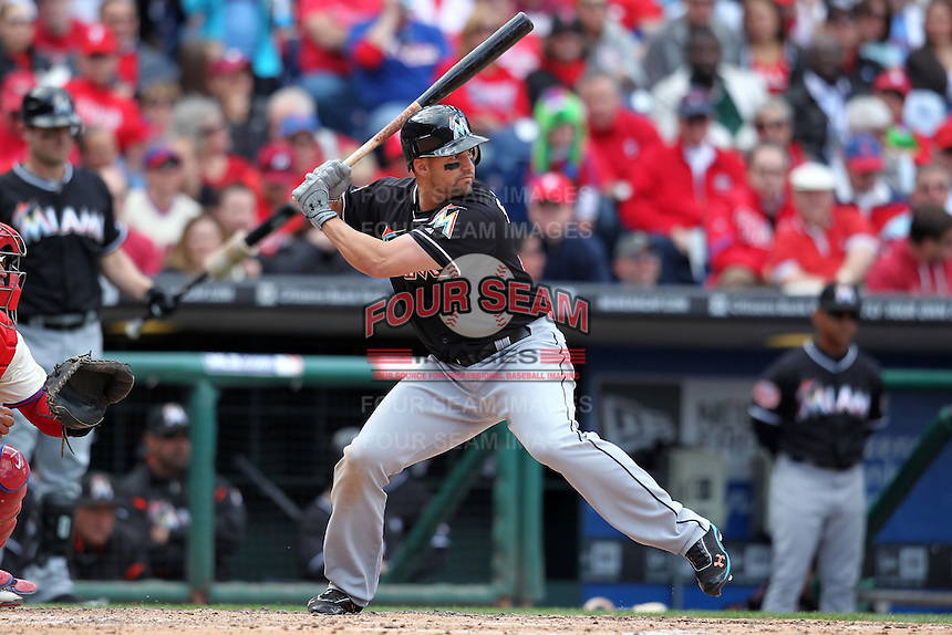 Miami Marlins first baseman Gabby Sanchez #15 during a game against the Philadelphia Phillies at Citizens Bank Park on April 9, 2012 in Philadelphia, Pennsylvania.  Miami defeated Philadelphia 6-2.  (Mike Janes/Four Seam Images)