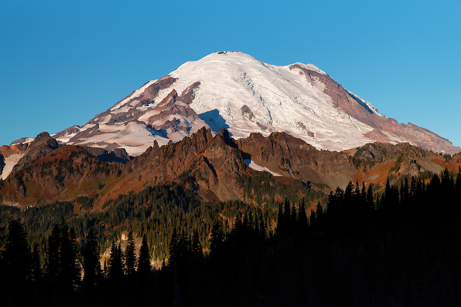 Mount Rainier on an autumn morning from near Tipsoo Lake, Mount Rainier National Park, Washington, USA