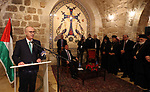 Palestinian Prime Minister, Rami Hamdallah attends Christmas celebrations at  the Church of the Nativity in the West Bank city of Bethlehem, 24 December 2018. Photo by Prime Minister Office