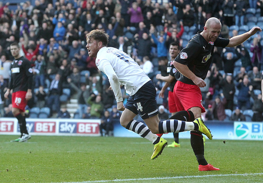 Preston North End's Joe Garner celebrates scoring his sides first goal  <br /> <br /> Photographer Rich Linley/CameraSport<br /> <br /> Football - The Football League Sky Bet League One - Preston North End v Fleetwood Town - Saturday 25th October 2014 - Deepdale - Preston<br /> <br /> &copy; CameraSport - 43 Linden Ave. Countesthorpe. Leicester. England. LE8 5PG - Tel: +44 (0) 116 277 4147 - admin@camerasport.com - www.camerasport.com