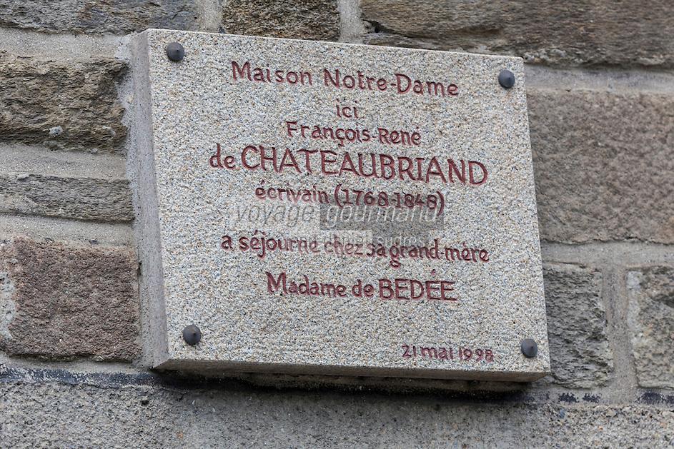 France, Côtes-d'Armor (22),Plancoët: plaque en mémoire à Chateaubriand sur la maison de sa grand mère / France, Cotes d'Armor, Plancoet  plate in memory Chateaubriand on the house of his grandmother