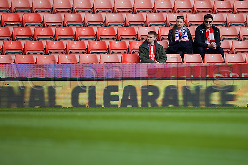 02.04.2016. Britannia Stadium, Stoke, England. Barclays Premier League. Stoke City versus Swansea City.  Fans arrive early to watch the warm up.