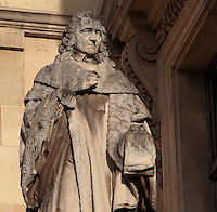 Statue of Montesquieu, 1689-1755, lawyer and writer of the Enlightenment, by Charles-Francois Nanteuil-Leboeuf, at the Turgot Wing, in the Cour Napoleon at the Musee du Louvre, Paris, France. A series of 86 statues of famous men were placed in this courtyard 1853-57 under the architects Louis Visconti and Hector Lefuel. Picture by Manuel Cohen