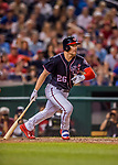 28 April 2017: Washington Nationals first baseman Adam Lind pinch hits for a single in the 9th inning against the New York Mets at Nationals Park in Washington, DC. The Mets defeated the Nationals 7-5 to take the first game of their 3-game weekend series. Mandatory Credit: Ed Wolfstein Photo *** RAW (NEF) Image File Available ***