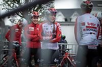 Team Lotto Soudal waiting in the cold and rain for the pre-race team presetation. <br /> <br /> 3th Liège-Bastogne-Liège-Femmes 2019 (1.WWT)<br /> 1 Day Race: Bastogne – Liège 138,5km<br /> <br /> ©kramon