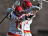 Sean Kuttin #17 of Chaminade, left, celebrates with teammate Regan Quinn after scoring a goal in the third quarter of a Nassau-Suffolk CHSAA varsity boys lacrosse game against St. Anthony's at Chaminade High School on Wednesday, April 5, 2017. Chaminade won by a score of 12-6.
