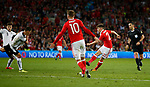 Ben Woodburn of Wales scores the winning goal during the World Cup Qualifying Group D match at the Cardiff City Stadium, Cardiff. Picture date 2nd September 2017. Picture credit should read: Simon Bellis/Sportimage