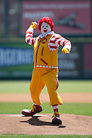"""Ronald McDonald"" throws out a ceremonial first pitch at The Diamond prior to the Eastern League game between the Bowie Baysox and the Richmond Flying Squirrels on May 25, 2015 in Richmond, Virginia.  (Brian Westerholt/Four Seam Images)"