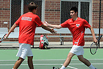 (Boston Ma 051814) Wellesley doubles partners Jack Mykrantz, left, Ethan Chapman, South Sectional Finals, high five as they win a match against Newton North doubles Adam Goffstein and Owen Grafe, Sunday at Newton North High School, Sunday, May 18, 2014, in Newton. (Jim Michaud Photo) for Sunday
