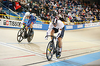 Picture by SWpix.com - 03/03/2018 - Cycling - 2018 UCI Track Cycling World Championships, Day 4 - Omnisport, Apeldoorn, Netherlands - Men's Sprint Quarterfinals - Ryan Owens and Maximilian Levy of Germany