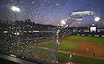 A foul ball shattered a couple windows in the press box during a game at Greater Nevada Field, in Reno, Nev., on Wednesday, Aug. 10, 2016.  <br />