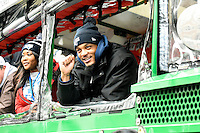 February 4, 2015 - Boston, Massachusetts, U.S. - New England Patriots strong safety Patrick Chung (23) rides in a duck boat during a parade held in Boston to celebrate the team's victory over the Seattle Seahawks in Super Bowl XLIX. Eric Canha/CSM