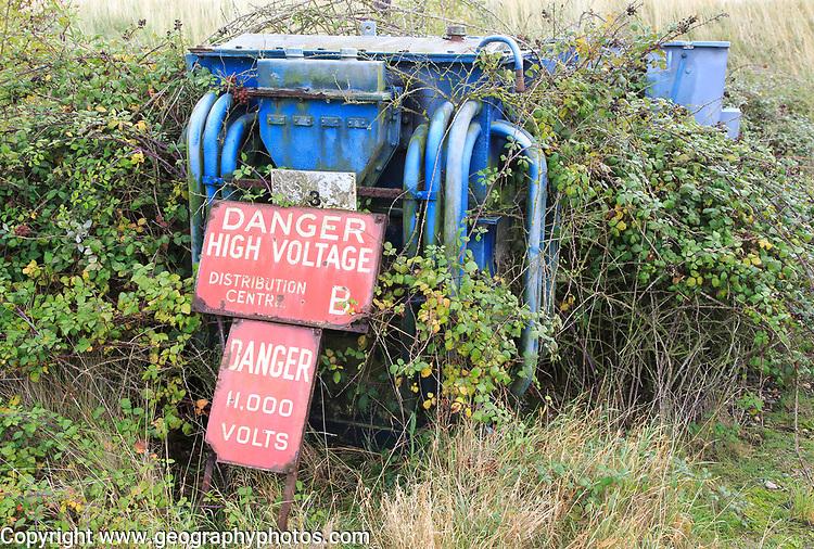 Orford Ness lighthouse Open Day, September 2017, Suffolk, England, UK - danger high voltage old generator