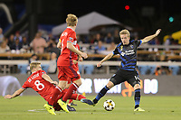 San Jose, CA - Wednesday September 27, 2017: Michael de Leeuw, Jackson Yueill during a Major League Soccer (MLS) match between the San Jose Earthquakes and the Chicago Fire at Avaya Stadium.