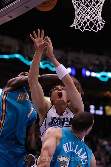 Matt Harpring. Utah Jazz vs. New Orleans/Oklahoma City Hornets NBA Basketball.<br />
