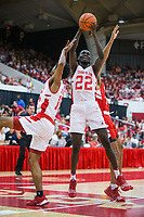 NWA Democrat-Gazette/BEN GOFF @NWABENGOFF<br /> Abayomi Iyiola (22), Arkansas forward, wins a rebound in the first half Saturday, Oct. 5, 2019, during the annual Arkansas Red-White Game at Barnhill Arena in Fayetteville.