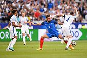 June 13th 2017, Stade de France, Paris, France; International football friendly, France versus England;  OLIVIER GIROUD (fra) challenged Englands John Stones