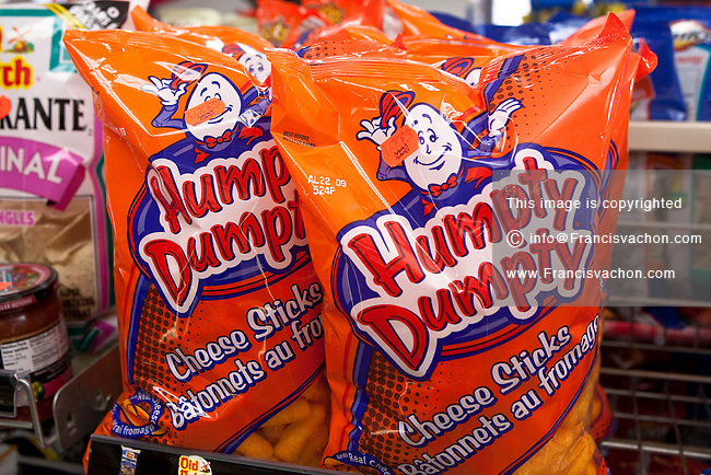 Bags of Humpty Dumpty cheese sticks (batonnets au fromage) are seen on display in a convenient store in Quebec City February 26, 2009