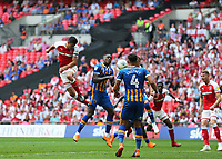 27th May 2018, Wembley Stadium, London, England;  EFL League 1 football, playoff final, Rotherham United versus Shrewsbury Town;  Richard Wood of Rotherham United heads the ball from a corner to score his sides 1st goal in the 31st minute to make it 1-0