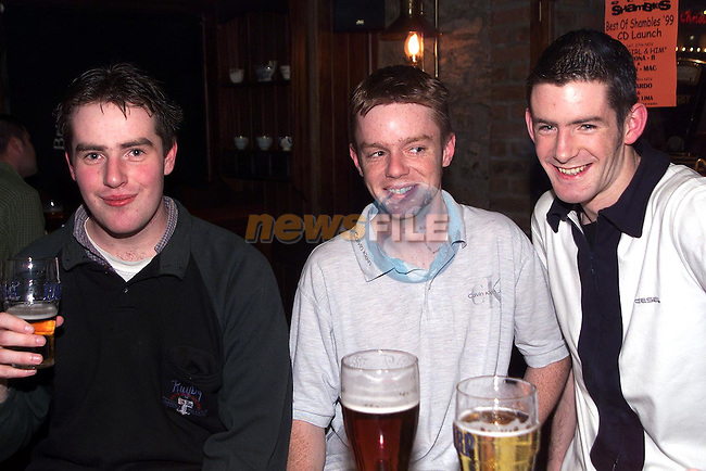 Paul Finegan, Colm Ward, Conor McKeever enjoying a night out in Muldoons..Picture Paul Mohan Newsfile
