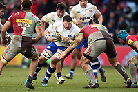 James Phillips of Bath Rugby in possession. Aviva Premiership match, between Harlequins and Bath Rugby on March 2, 2018 at the Twickenham Stoop in London, England. Photo by: Patrick Khachfe / Onside Images