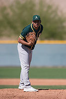 Oakland Athletics relief pitcher Jhenderson Hurtado (60) during a Minor League Spring Training game against the Chicago Cubs at Sloan Park on March 19, 2018 in Mesa, Arizona. (Zachary Lucy/Four Seam Images)