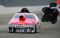 Feb. 11, 2012; Pomona, CA, USA; NHRA pro stock driver V. Gaines during qualifying for the Winternationals at Auto Club Raceway at Pomona. Mandatory Credit: Mark J. Rebilas-