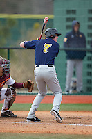 Dan Zuchowski (7) of the Toledo Rockets at bat against the Virginia Tech Hokies at The Ripken Experience on February 28, 2015 in Myrtle Beach, South Carolina.  The Hokies defeated the Rockets 1-0 in 10 innings.  (Brian Westerholt/Four Seam Images)