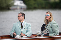 Henley Royal Regatta, Henley on Thames, Oxfordshire, 29 June-3 July 2015.  Thursday  18:37:10   30/06/2016  [Mandatory Credit/Intersport Images]<br /> <br /> Rowing, Henley Reach, Henley Royal Regatta.<br /> <br /> Official Timekeepers and the Race Reporter on the Stern of the Umpire's Launch