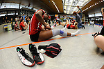 Rüsselsheim, Germany, April 13: Dominique Lamb #2 of the Rote Raben Vilsbiburg takes off her shoes after play off Game 1 in the best of three series in the semifinal of the DVL (Deutsche Volleyball-Bundesliga Damen) season 2013/2014 between the VC Wiesbaden and the Rote Raben Vilsbiburg on April 13, 2014 at Grosssporthalle in Rüsselsheim, Germany. Final score 0:3 (Photo by Dirk Markgraf / www.265-images.com) *** Local caption ***