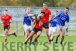Fiachra Clifford Laune Rangers  and Jack Brosnan Glenbeigh/Glencar during the Mid Kerry final in Killorglin on Sunday