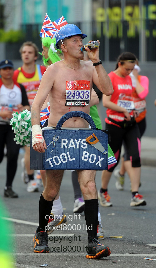 London Marathon 2012.Fun runners.Thirsty Ray with his tool box.....Pic by Gavin Rodgers/Pixel 8000 Ltd